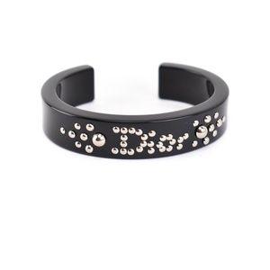 DIOR: Black & Silver Studs Logo Cuff/Bracelet (mt)